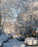 VANCÔVER, CANADÁ - 24 de fevereiro de 2018: Manhã do inverno após uma noite de carros do blizzard da neve na neve e no táxi amare Foto de Stock