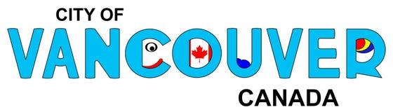 Vancôver - Canadá, inscrição abstrata no azul Fotos de Stock Royalty Free