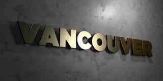 Vancôver - sinal do ouro montado na parede de mármore lustrosa - 3D rendeu a ilustração conservada em estoque livre dos direitos ilustração stock