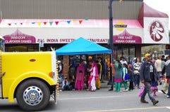 Vancouver's在Vaisakhi游行期间的旁遮普人地区 免版税库存照片