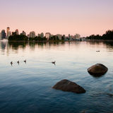 Vancouver. Coastline around Stanley Park, Vancouver. Square orientation Royalty Free Stock Photo