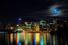 горизонт vancouver съемки ночи города Стоковые Фотографии RF