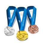 The Vancouver 2010 medals. Theblueprints for these medals are based on two large master artworks(Olympic and Paralympic) from which each of the medals washand Royalty Free Stock Photography