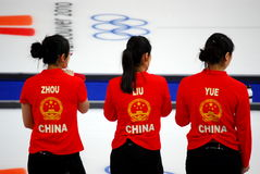 Vancouver 2010 Olympic Winter Games. An Olympic curling match (women's) between China and Canada, held at Vancouver Olympic Centre at the 2010 Vancouver Olympic royalty free stock images