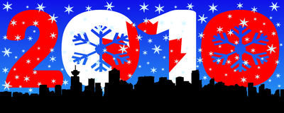 Vancouver with 2010 text and flag. Vancouver skyline with 2010 text Canadian flag and snow flakes Vector Illustration