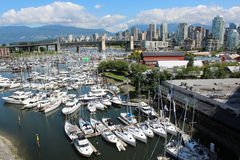 Vancouver. A view of the marina and downtown Vancouver looking north on the Granville Street Bridge Stock Photos