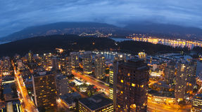 Vancouver. In the evening, looking at Stanley Park and the Lions Gate Bridge Royalty Free Stock Photography