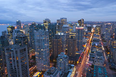 Vancouver. In the evening, looking down Robson Street Royalty Free Stock Images