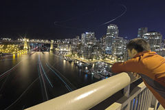 Vancouver. A view of a night scene of downtown Vancouver from Granville street bridge Stock Images