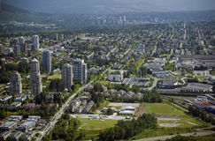 Vancouver Aerial - Burnaby and New Westminster Royalty Free Stock Photography