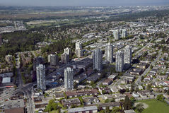 Vancouver Aerial - Burnaby and New Westminster stock images