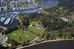 Vancouver Aerial - Stanley Park and Coal Harbour Royalty Free Stock Photos