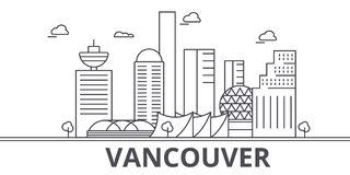 Vancouver architecture line skyline illustration. Linear vector cityscape with famous landmarks, city sights, design. Icons. Editable strokes Stock Images