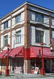 House at corner Columbia and Pender Street in Chinatown, Vancouver, Canada stock image