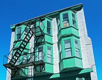 Detail view of a house at a side street in Chinatown, Vancouver, Canada stock photography