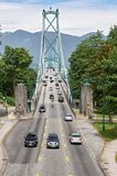 View at Lions Gate Bridge from the southern side of Vancouver, Canada stock images