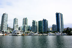 Vancouver bay. White yachts in vancouver bay Royalty Free Stock Image