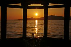 Vancouver Bay Sunset, steering wheel Stock Image