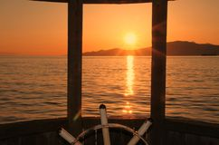 Vancouver Bay Sunset, steering wheel Stock Photos