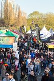 VANCOUVER, BC, CANADA - APR 20, 2019: Overview of the crowds and vendors at the 420 festival in English Bay, Vancouver.