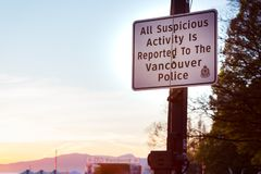 VANCOUVER, BC, CANADA - APR 20, 2019: A Vancouver Police sign at the 420 festival in Vancouver. stock photos