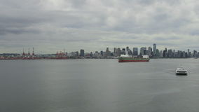 Vancouver BC Canada Cityscape with Clouds and Sea Transportation Time Lapse Stock Photography