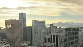 Vancouver BC Canada Downtown City Urban Scenic View with Traffic and Golden Sunset Time Lapse Stock Photography