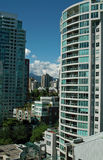 Vancouver BC, Canada. With a great view of the North shore mountains, these popular apartment buildings in the West end of Vancouver are also within walking stock images