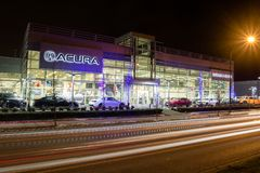 Vancouver BC, Canada - January 9, 2018: Acura automobile dealership store front. Acura is the luxury vehicle division of Japanese royalty free stock photos