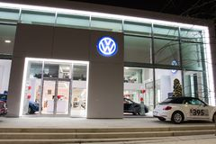 Vancouver BC, Canada - January 9, 2018: Office of official dealer Volkswagen. Volkswagen is a German automobile manufacturer speci royalty free stock photos
