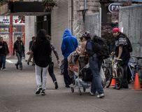 VANCOUVER, BC, CANADA - MAY 11, 2016: A all too common scene of homelessness and poverty that is Vancouver`s Downtown. Eastside Royalty Free Stock Photo