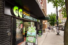 VANCOUVER, BC, CANADA - MAY 11, 2016: Mark Emery`s Cannabis Culture store is one of the many vendors in the area that royalty free stock image