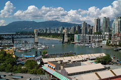 Vancouver BC, Canada. These popular apartment buildings in the West end of Vancouver have a great view over False Creek, and are also within walking distance of royalty free stock photography
