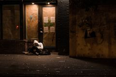 VANCOUVER, BC, CANADA - SEPT 28, 2019: A homeless drug addict on the streets of Vancouvers downtown eastside.