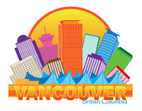 Vancouver BC Canada Skyline Circle Color Illustration Royalty Free Stock Image