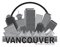 Vancouver BC Canada Skyline Circle Grayscale Illustration Stock Image