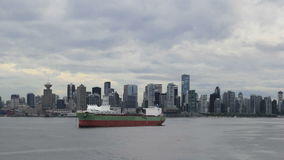 Vancouver BC Canada Skyline with Clouds and Sea Transportation from Lonsdale Market Time Lapse stock video
