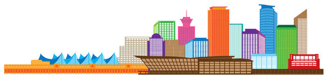 Vancouver BC Canada Skyline Color Illustration. Vancouver British Columbia Canada City Skyline Color Vector Illustration Royalty Free Stock Images