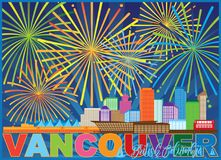 Vancouver BC Canada Skyline Fireworks vector Illustration Royalty Free Stock Image
