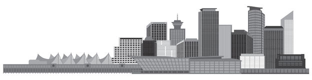 Vancouver BC Canada Skyline Grayscale Vector Illustration Stock Images