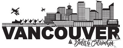 Vancouver BC Canada Skyline Text Black and White vector Illustration. Vancouver British Columbia Canada City Skyline Text Black and White vector Illustration Stock Photos