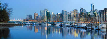 Vancouver BC City Skyline at Dusk Stock Photography