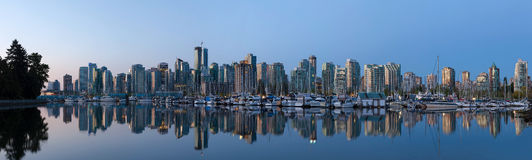 Vancouver BC City Skyline by the Harbor Panorama Royalty Free Stock Photos