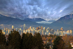 Vancouver BC City Skyline with Mountains Stock Image