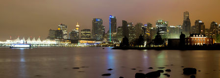 Vancouver BC City Skyline at Night Royalty Free Stock Photo