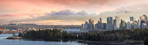 Vancouver BC City Skyline and Stanley Park Stock Photos