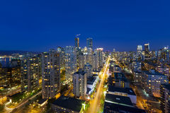 Vancouver BC Cityscape Along Robson Street at Blue Hour Stock Photos