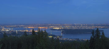 Vancouver BC Cityscape at Blue Hour Panorama Royalty Free Stock Image
