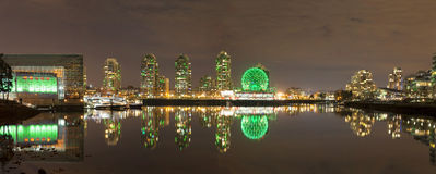 Vancouver BC Cityscape by False Creek at Night. Vancouver British Columbia Canada City Skyline Along False Creek Night Scene Panorama Stock Images