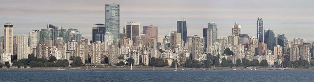 Vancouver BC Downtown Skyline by English Bay Royalty Free Stock Image